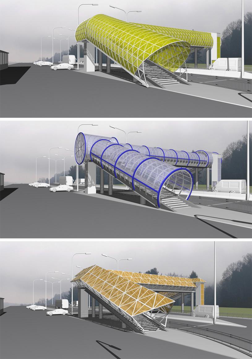 Эскизный проект пешеходного моста. Архитектор: Сергей Косинов. Новосибирск
