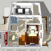 Проект двухэтажного одноквартирного дома с гаражём. 1 этаж. АФ-студия, Новосибирск. Архитектор: Антонов Дмитрий