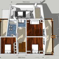 Проект двухэтажного одноквартирного дома с гаражём. 2 этаж. АФ-студия, Новосибирск. Архитектор: Антонов Дмитрий
