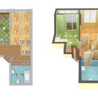 Жилой комплекс «Шесть Звезд» по ул. Аникина в Новосибирске. 1-комнатная квартира (40,8 кв.м)