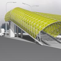 Эскизный проект пешеходного моста. Вариант 1. Архитектор: Сергей Косинов. Новосибирск