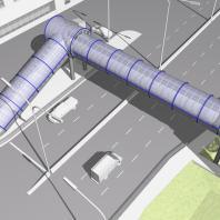 Эскизный проект пешеходного моста. Вариант 2. Архитектор: Сергей Косинов. Новосибирск