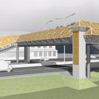 Эскизный проект пешеходного моста. Вариант 3. Архитектор: Сергей Косинов. Новосибирск