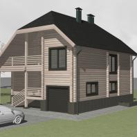 Проект индивидуального 2-х этажного деревянного жилого дома с подвалом. Архитектор Косинов С.Ю. Новосибирск