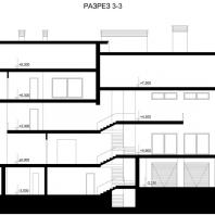 Коттедж в Центре семейного отдыха «Синегорье», г. Бердск. Архитекторы: Чаплыгин М.Ф. (ГАП), Косинов С.Ю. Разрез 3-3