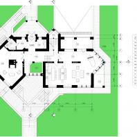 Коттедж в Центре семейного отдыха «Синегорье», г. Бердск. Архитекторы: Чаплыгин М.Ф. (ГАП), Косинов С.Ю. План 1 этажа