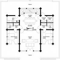 Проект одноквартирного 3-х этажного деревянного дома. План 1-го этажа. Архитектор Сергей Косинов. Новосибирск. 2015 г.