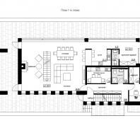 Эскизный проект индивидуального жилого дома «Локомотив». План 1-го этажа. Архитектор: Сергей Косинов