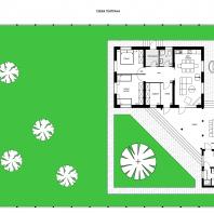 Эскизный проект индивидуального жилого дома с баней и зоной барбекю в с. Озерное (Манжерок). Архитектор: Косинов С.Ю. Вариант №2